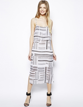 ASOS | ASOS Strappy Dress In Linear Stripe Print at ASOS
