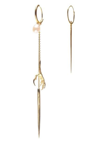 Wouters & Hendrix Gold spikes women earrings gold grey metallic jewels