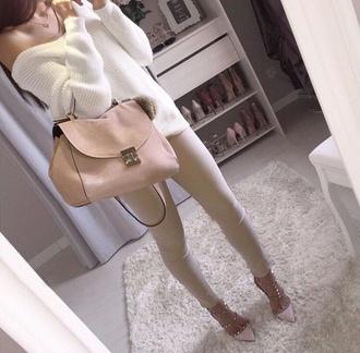 bag suede bag pink bag nude fur stylish sweater pants