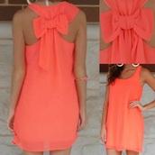 dress,coral,fashion,coral dress,summer dress,neon,bow,cute,girly,summer,trendy,orange,short dress,rose wholesale-jan