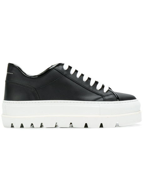Mm6 Maison Margiela women sneakers platform sneakers leather black shoes