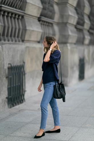 top tumblr blue top navy denim jeans blue jeans flats pointed flats black flats bag black bag