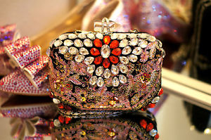 Swarvoski Embellished Box Clutch Sparkle Evening Bag Minaudière Crystal Purse   eBay