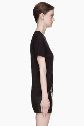T By Alexander Wang Black Linen Silk T-shirt for women | SSENSE
