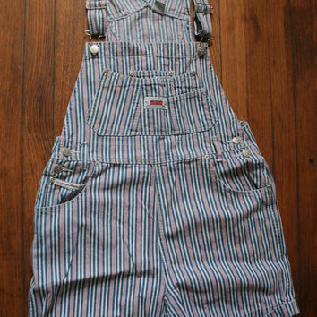 Womens 90s Grunge Striped Denim Bib SHORTALLS/ Womens Shortalls Red,White, Blue Stripes /  OVERALL Shorts on Wanelo