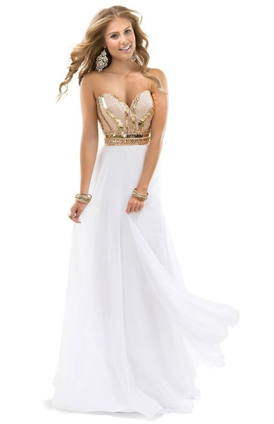 dress prom dress long prom dress white and gold dress