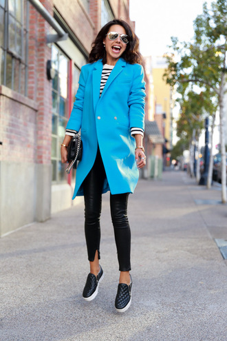 viva luxury blogger bag jewels coat blue quilted vans black flats