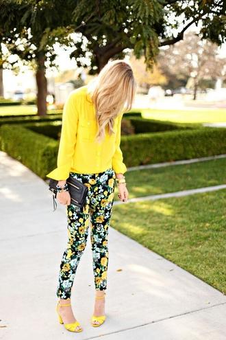 printed pants roses floral yellow