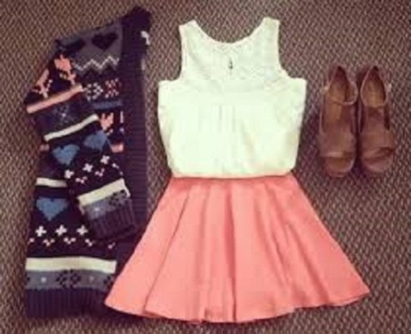 shirt pink jacket cardigan vintage fantasy dress cute white skirt sweater clothes weheartit black warm top pink skirt and white top lovely