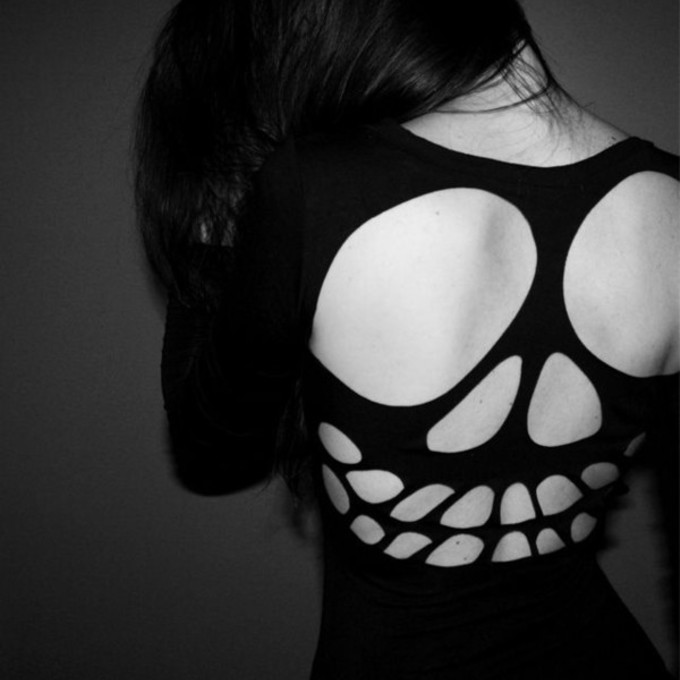 skull skull t-shirt cut-out black tee long sleeves cut out ...