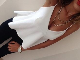 shirt white shirt white cute girly spaghetti strap