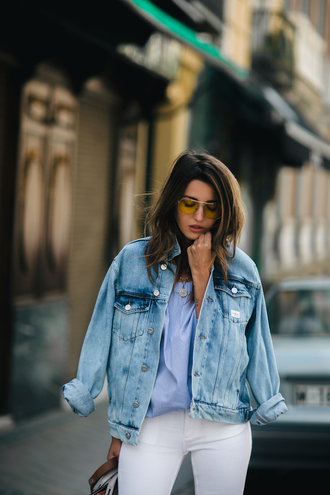 lovely pepa blogger jacket jeans shoes shirt sunglasses denim jacket spring outfits blue shirt