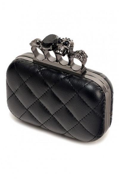 KCLOTH Hollow Rings Embellishment Diamante and Skull Shaped Black Bag