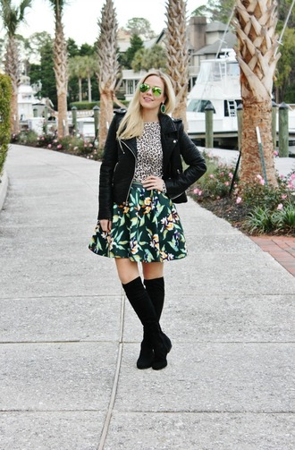 b soup blogger circle skirt floral skirt animal print mirrored sunglasses black jacket