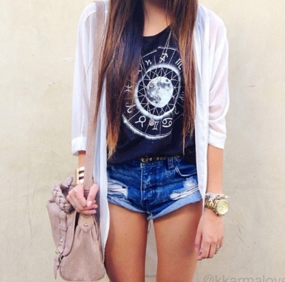short t-shirt top beauty fashion loooove cardigan bag