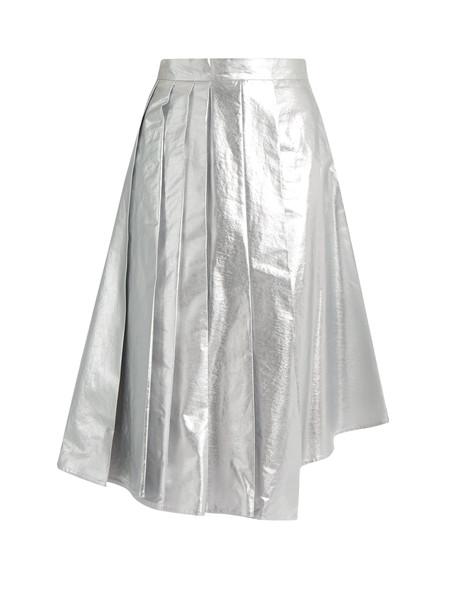 b8550c4f1c A.W.A.K.E. Shiny Starfish asymmetric pleated cotton skirt in silver ...
