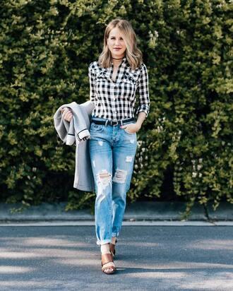 top tumblr gingham jeans denim blue jeans ripped jeans sandals sandal heels high heel sandals belt