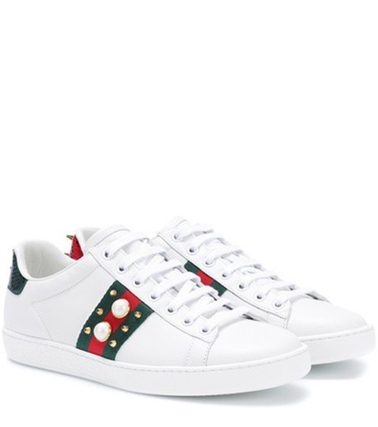 gucci embellished sneakers leather white shoes