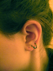 jewels,earrings,spiral,blue,black,silver,purple,cool,indie,metal,ear,twist,piercing,ring