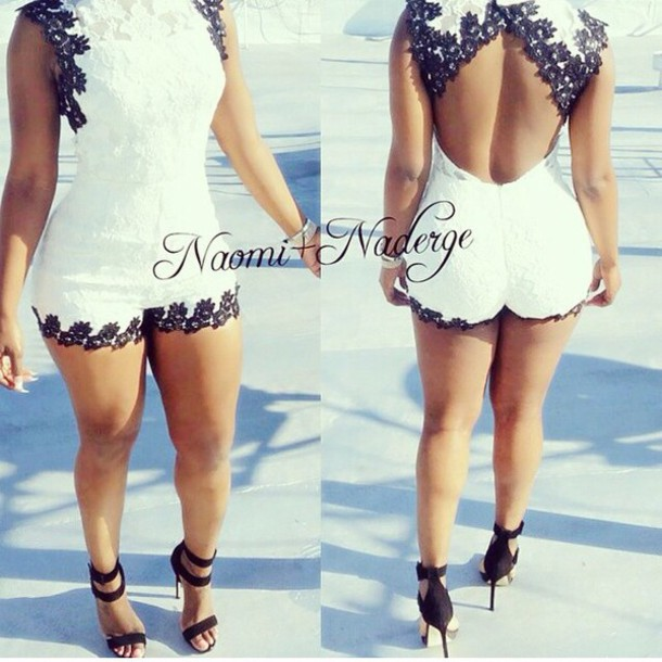 Romper Romper Jumpsuit Black And White Shorts Clothes Sexy
