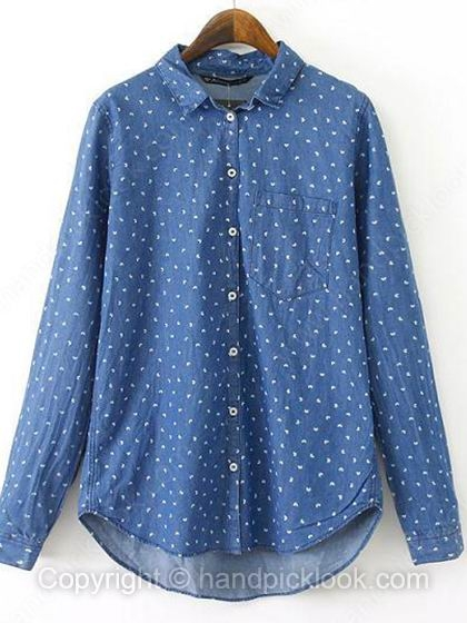 Blue Contrast Lapel Long Sleeve Leaves Print Blouse - HandpickLook.com