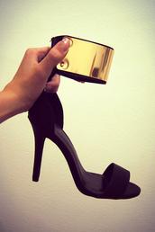 shoes,heels,high heels,black,gold