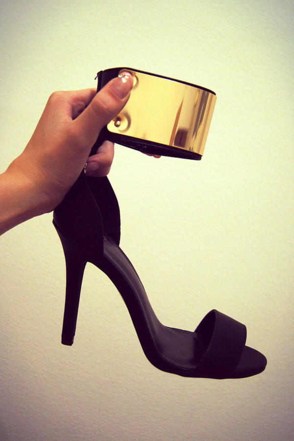shoes heels high heels black gold