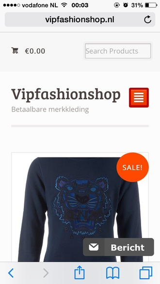 sweater dark blue kenzo tiger