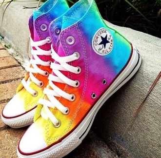 shoes multicolour converse all stars rainbow pastel bright white summer style tumblr