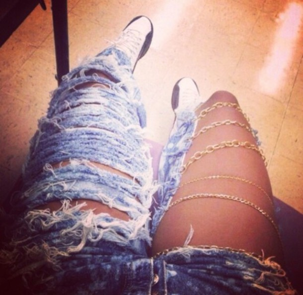 dope ripped jeans gold swag www Ebonylace.net www.ebonylace.net jeans