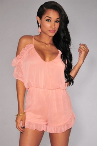 romper wots-hot-right-now pink pink rompers sexy rompers ruffle