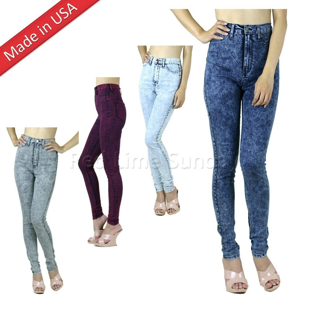 Classic acid mineral wash high waist rise skinny denim jeans pants regular plus