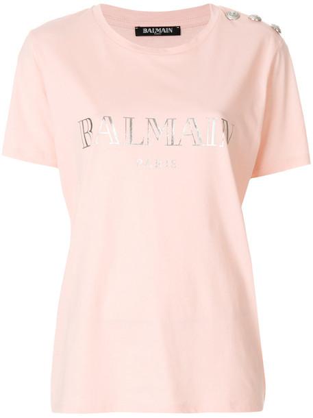 Balmain t-shirt shirt printed t-shirt t-shirt women cotton purple pink top
