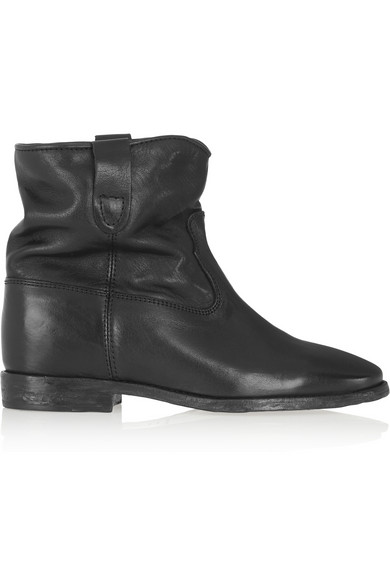 étoile cluster leather concealed wedge ankle boots