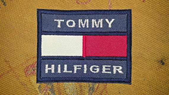 th th85 tommy hilfiger logo embroidery sew on label patch cap t