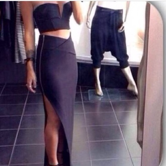 shirt maxi skirt two-piece sexy black maxi dress