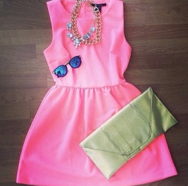 dress hot pink dress baby pink cute fashion party
