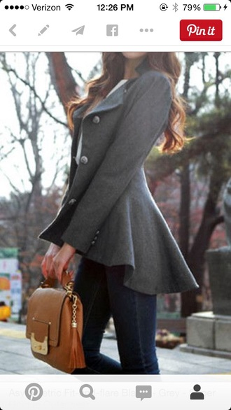 coat grey hi-low buttons grey coat peplum pea coat classy perfecto lovely
