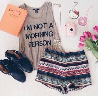 t-shirt cute grey t-shirt shorts boots quote on it mornings aztec top grey jewels shoes