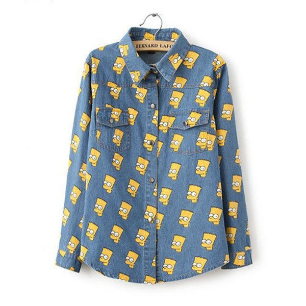 shirt blouse cartoon the simpsons loose pockets