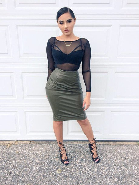 Dress: skirt, shirt, olive green, black, sheer, leather skirt ...