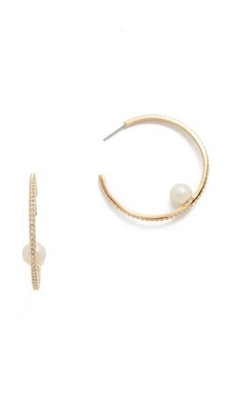 earrings hoop earrings cream jewels