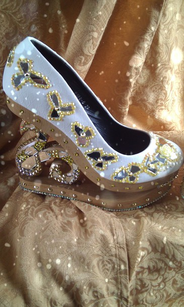 shoes wedges white gold fashion cinderella mirror