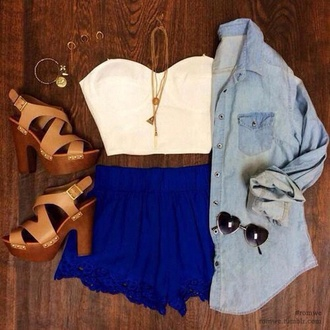 blue shorts white top white crop top denim jewels golden jewels neckless high heels brown heels brown pumps denim vest fashion top sunglasses