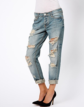 ASOS | ASOS Brady slim Boyfriend Jean in Vintage Wash with Extreme Rips at ASOS