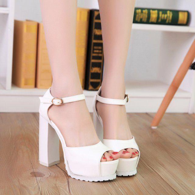6fffe97e0f1 Womens Mary Jane Platform Chunky Heels Color Block White ...