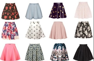 denim skirt black skirt skater skirt floral skirt