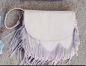 bag,fringed bag,fringes,cute,white,light purple,shoulder bag,pastel bag