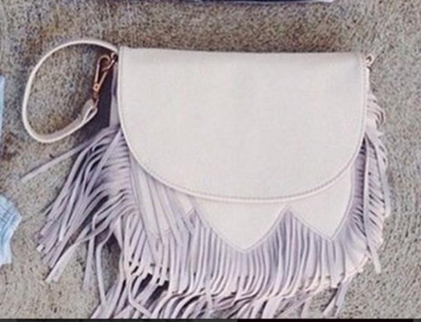 bag fringed bag fringes cute white light purple shoulder bag pastel bag