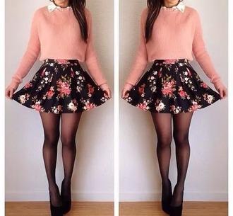skirt floral skater skirt cute fashion adorable love sweater